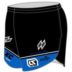 Black and Blue runner's shorts with loft and shove logo
